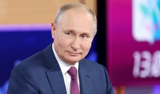 """Russian President Vladimir Putin attends an annual televised phone-in with """"Direct Line with Vladimir Putin"""" in Moscow on Wednesday."""