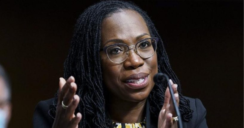 In this April 28, 2021, file photo, Ketanji Brown Jackson, who was confirmed Monday as a U.S. Circuit Judge for the District of Columbia Circuit, testifies before a Senate Judiciary Committee hearing on pending judicial nominations on Capitol Hill in Washington.