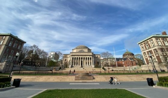 A wide view of the campus lawn at Columbia University is seen on April 14, 2020, in New York City.