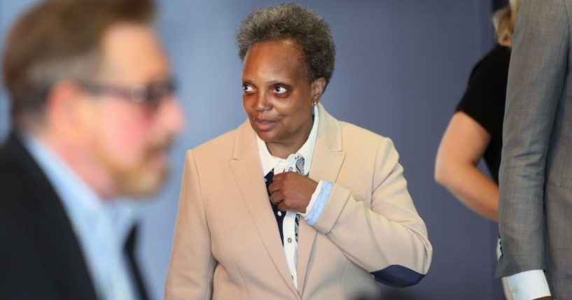 Chicago Democratic Mayor Lori Lightfoot greets guests at an event held to celebrate Pride Month at the Center on Halstead on June 7, 2021, in Chicago.