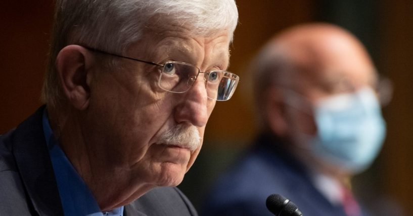 Dr. Francis Collins, director of the National Institutes of Health, testifies during a Senate Appropriations subcommittee hearing on the plan to research, manufacture and distribute a coronavirus vaccine, known as Operation Warp Speed, in Washington, D.C., on July 2, 2020.