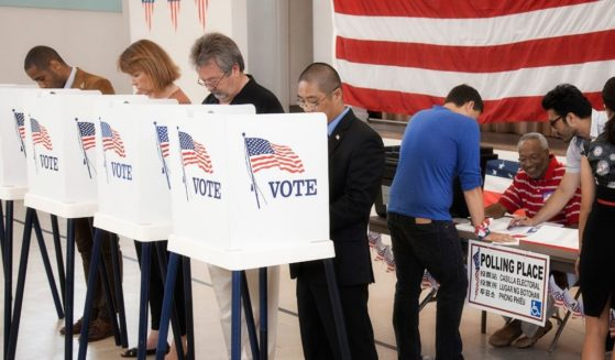Americans at a voting place.