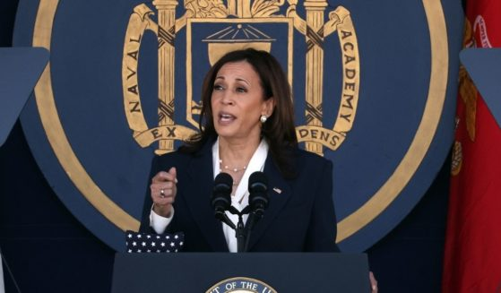 Vice President Kamala Harris, pictured speaking at the Naval Academy graduation on Friday,