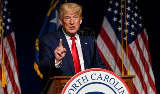 Former President Donald Trump addresses North Carolina Republicans on Saturday.