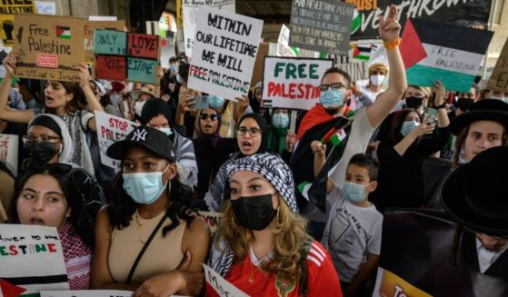 Pro-Palestinian demonstrators gather in New York in a May 22 file photo.