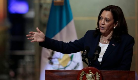Vice President Kamala Harris speaks during Monday's news conference in Guatemala City.