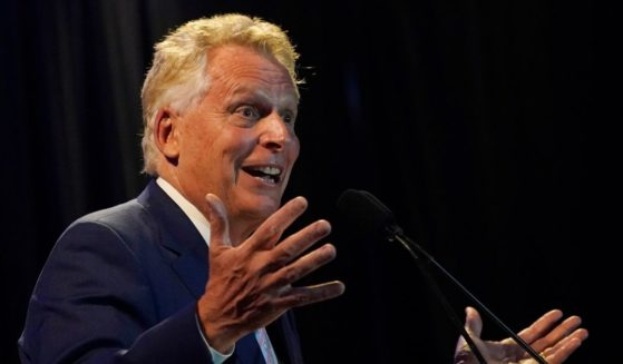 Former Virginia Gov. Terry McAuliffe addresses an audience Tuesday night after winning the Democratic gubernatorial primary to try to win back the governor's office in November.