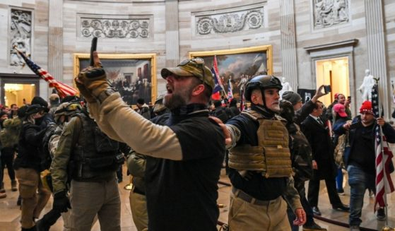 Supporters of then-President Donald Trump inside the Capitol Rotunda during the Jan. 6 incursion.