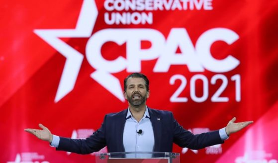 Donald Trump Jr. addresses the Conservative Political Action Conference in Orlando on Feb. 26, 2021.