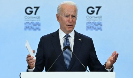 President Joe Biden field questions Sunday at a news conference in Cornwall, England.