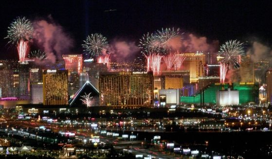 Fireworks illuminate the skyline over the Las Vegas Strip during a New Year's Eve celebration on Jan. 1, 2020, two months before the coronavirus pandemic was declared by the World Health Organization.