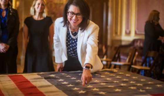 n a ceremony this past May, Utah Lt. Gov. Deidre Henderson points to the 45th star of the original 45-star flag made in 1896, after Utah became a state on Jan. 4 of that year.