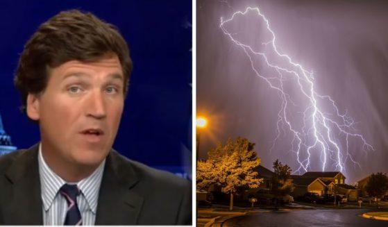 Fox News' Tucker Carlson, left; a bolt of lighting striking, right.