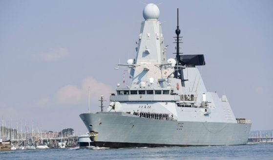 The HMS Defender, pictured in a May 1 file photo from the beginning of its deployment from Portsmouth, United Kingdom.