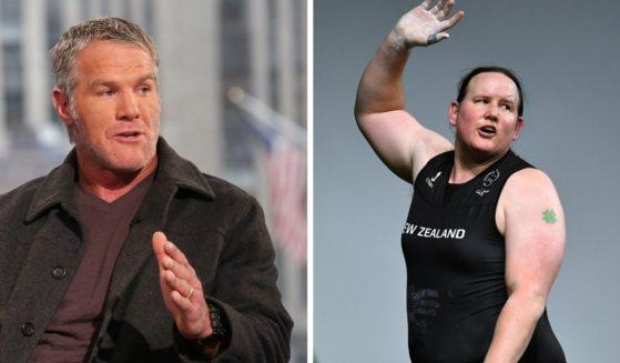 NFL legend Brett Favre, left; and New Zealand transgender weightlifter Laurel Hubbard, right.