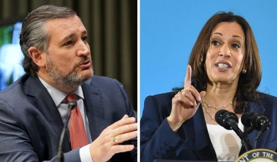Sen. Ted Cruz, left; and Vice President Kamala Harris, right.