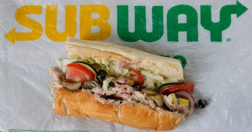A tuna sandwich from a Subway restaurant in Northern California is displayed on June 22, 2021. A recent lab analysis of tuna used in the chain's tuna sandwiches commissioned by The New York Times did not reveal any tuna DNA in samples taken from three Subway restaurants in the Los Angeles area.