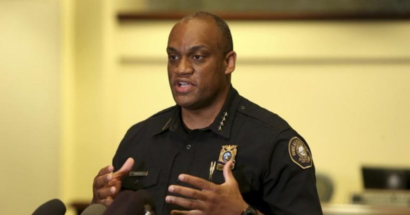 Portland Police Chief Chuck Lovell speaks during a news conference on Aug. 30, 2020.