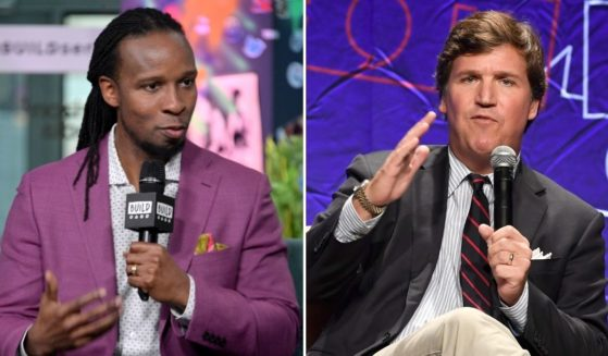 Ibram X. Kendi, left, discusses the book Stamped: Racism, Antiracism and You at Build Studio on March 10, 2020, in New York City. Tucker Carlson, left, speaks onstage at Politicon 2018 at the Los Angeles Convention Center on Oct. 21, 2018, in Los Angeles.