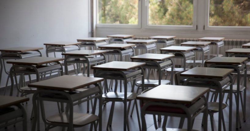 An empty classroom is photographed at the Liceo Europeo school during the COVID-19 lockdown on May 22, 2020, in Alcobendas, Madrid, Spain.