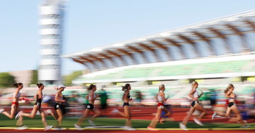 Athletes run in the first round of the Women's 5000 Meter during day one of the 2020 U.S. Olympic Track & Field Team Trials at Hayward Field on Friday in Eugene, Oregon.