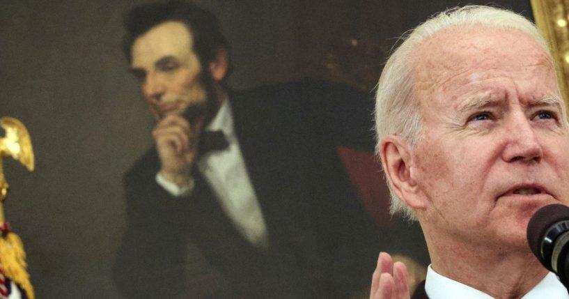 President Joe Biden speaks at the White House in Washington on Wednesday.