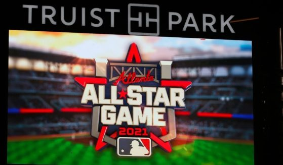 The 2021 All-Star Game Logo is displayed on the screen prior to the game between the Miami Marlins and Atlanta Braves at Truist Park on Sept. 24, 2020, in Atlanta
