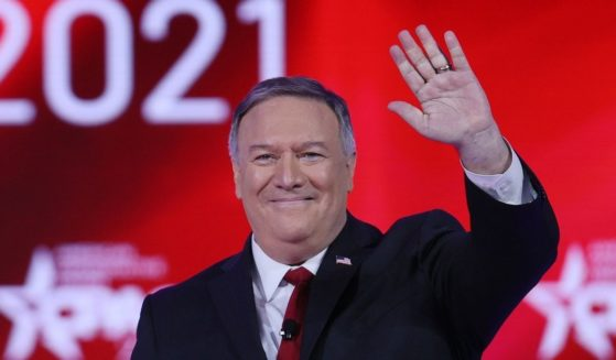 Former U.S. Secretary of State Mike Pompeo addresses the Conservative Political Action Conference held in the Hyatt Regency on Feb. 27, 2021, in Orlando, Florida.