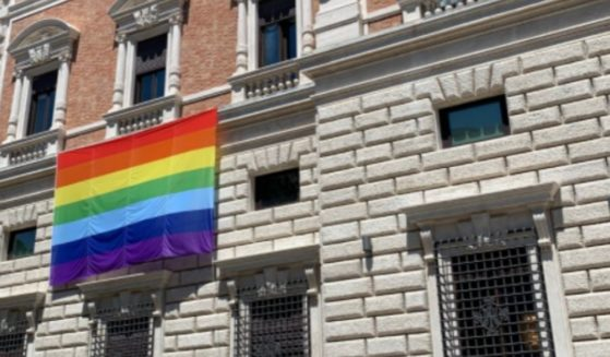 A rainbow flag on the U.S. Embassy to the Holy See on June 1.
