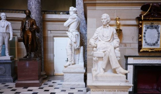 A statue of Alexander Hamilton Stephens, vice president of the Confederate States, is seen in Statuary Hall of the U.S. Capitol in Washington on June 11, 2020.