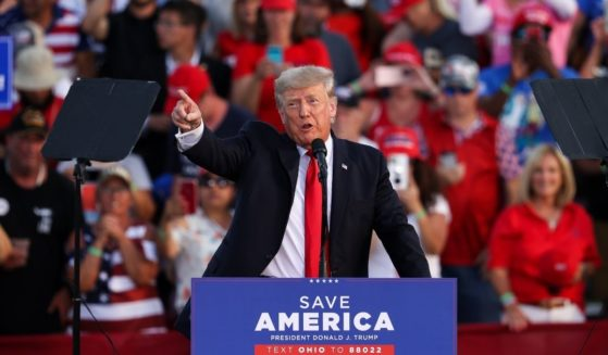 Former President Donald Trump speaks to a crowd gathered at the Lorain County Fairgrounds in Wellington, Ohio, on Saturday.