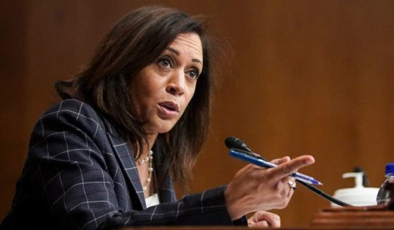 Then-Democratic California Sen. Kamala Harris speaks during the Senate Homeland Security and Governmental Affairs hearing in the Dirksen Senate Office Building on June 25, 2020, in Washington,D.C.