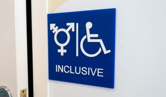A sign for an inclusive restroom, with the symbol indicating male, female and transgender, as well as handicapped symbol, as part of LGBT rights initiatives in the Mission District neighborhood of San Francisco on July 18, 2019.