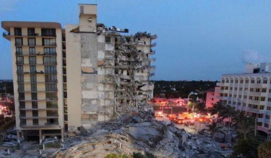 A building collapsed near Miami on Thursday.