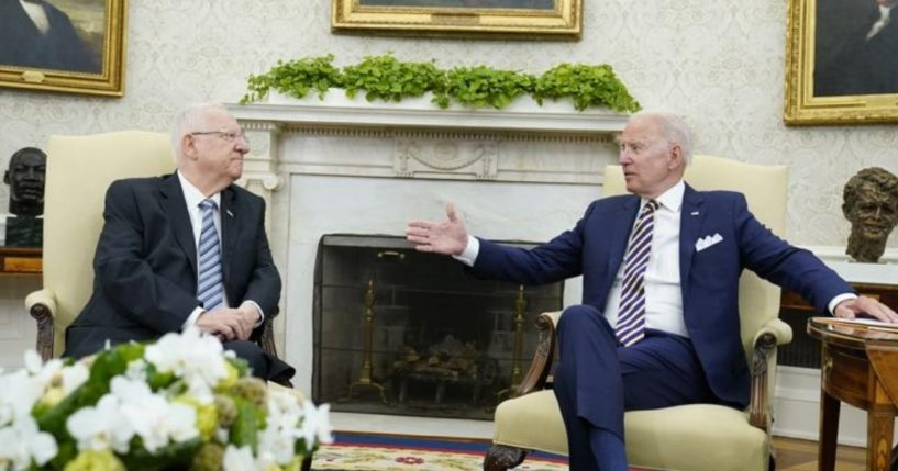 President Joe Biden meets with Israeli President Reuven Rivlin in the Oval Office of the White House in Washington D.C. on Monday.