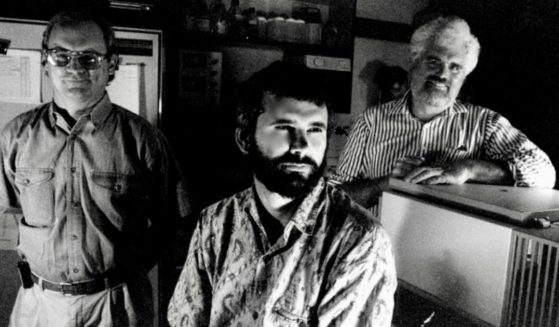 From left to right, Dr. Jay Hecker, Dr. Robert Malone and Dr. Gary Rhodes are pictured in the Department of Pathology in the School of Medicine at the University of California, Davis, in the mid-1990s.