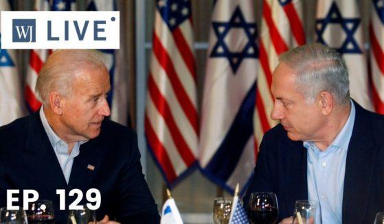 Then-Vice President Joe Biden, left, sits with then-Israeli Prime Minister Benjamin Netanyahu on March 9, 2010, in Jerusalem, Israel.