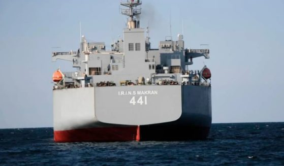An Iranian warship is seen on the Atlantic Ocean. Republican Sen. Marco Rubio of Florida urged President Joe Biden to deal with Iran's military vessels.