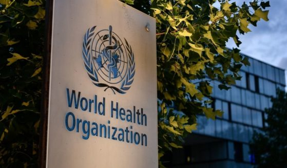 A photo taken on Aug. 17, 2020, shows a sign of the World Health Organization at its headquarters in Geneva amid the COVID-19 pandemic.