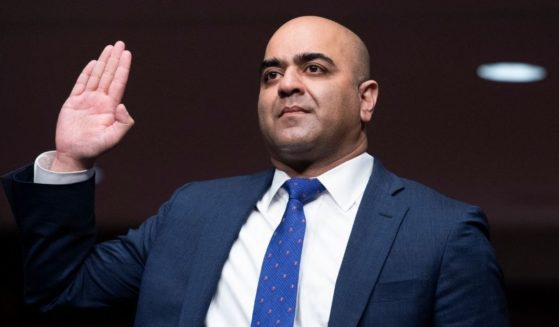 Zahid Quraishi, nominated by President Joe Biden to be a U.S. district judge, is sworn in to testify before a Senate Judiciary Committee hearing on Capitol Hill in Washington on April 28.