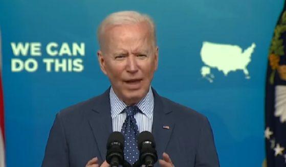 President Joe Biden speaks at the White House on Wednesday.