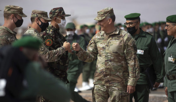 Gen. Stephen J. Townsend, head of U.S. Africa Command, arrives to watch a large-scale drill as part of the African Lion military exercises in Tantan, Morocco, on Friday.