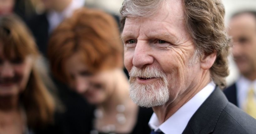 Conservative Christian baker Jack Phillips talks with journalists in front of the Supreme Court after the court heard the case Masterpiece Cakeshop v. Colorado Civil Rights Commission December 5, 2017 in Washington, DC. Siting his religious beliefs, Phillips refused to sell a gay couple a wedding cake for their same-sex ceremony in 2012, beginning a legal battle over freedom of speech and religion.