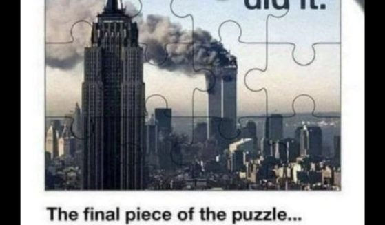 A jigsaw puzzle depicting a scene from the 9/11 attack.