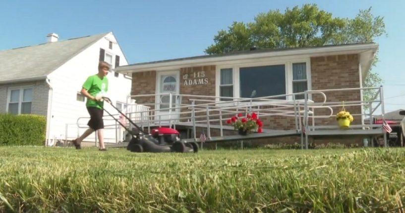 Nathan Adams, 14, who has made a goal to mow 50 veteran's lawns for free in honor of his grandpa.