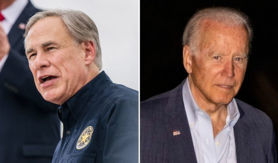 """Republican Texas Gov. Greg Abbott, left, told Fox News on Friday that President Joe Biden, right, is """"lying"""" to Americans about the border crisis."""
