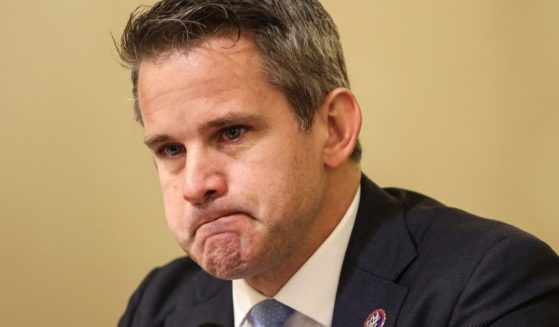 Republican Rep. Adam Kinzinger of Illinois becomes emotional as he questions witnesses during the select committee investigation of the Jan. 6, 2021, Capitol incursion during a hearing on Capitol Hill in Washington, D.C., on Tuesday.