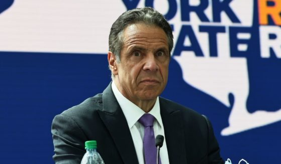 New York Gov. Andrew Cuomo takes questions from reporters during a news conference at the Javits Center in Manhattan on May 11, 2021, in New York City.