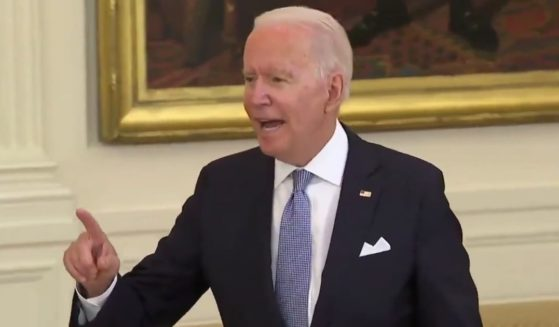 President Joe Biden responds to a question from Fox News White House correspondent Peter Doocy during a media briefing on Thursday.