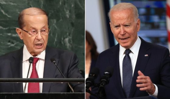 Lebanese President Michel Aoun, left, speaks to world leaders at the 72nd United Nations General Assembly at UN headquarters in New York on Sept. 21, 2017 in New York City. President Joe Biden, right, delivers remarks in the South Court Auditorium in the Eisenhower Executive Office Building on Thursday in Washington, D.C.